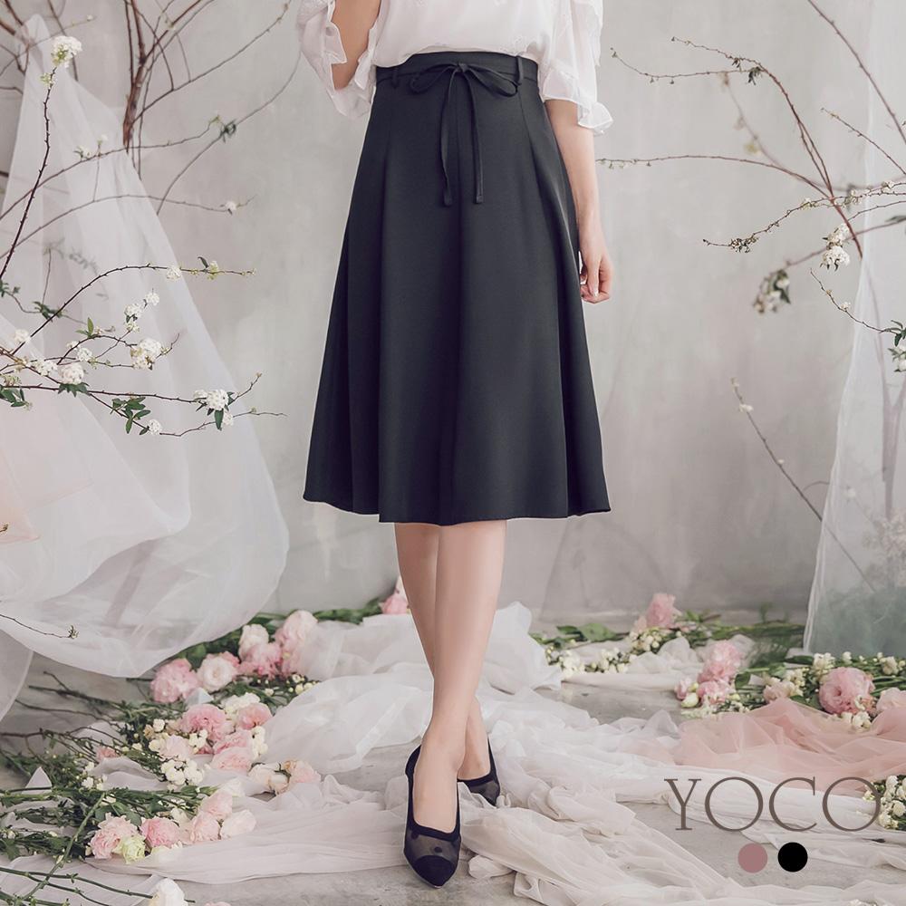 東京著衣-YOCO  氣質女伶腰綁帶後鬆緊雪紡傘裙-S.M.L(共兩色)