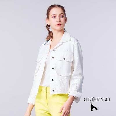 【GLORY21】新品-純棉休閒繡花短夾克外套-白色