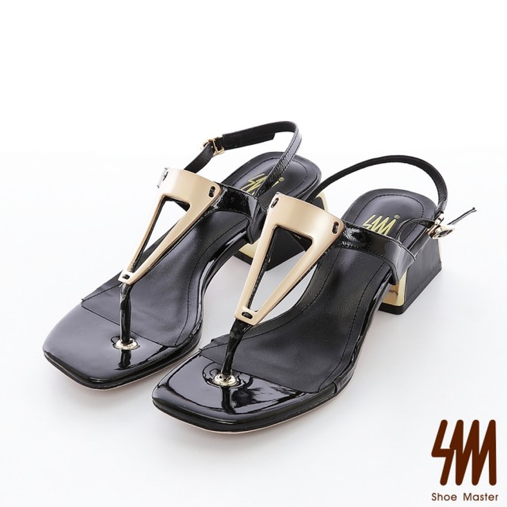 【SM】全真皮系列--幾何圖形金屬飾釦真皮方頭中粗跟涼鞋(2色)