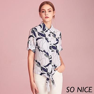 SO NICE時尚幾何印花綁結襯衫