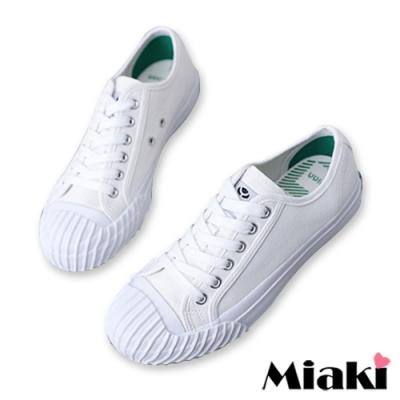 Miaki-帆布鞋經典時尚厚底餅干鞋-白