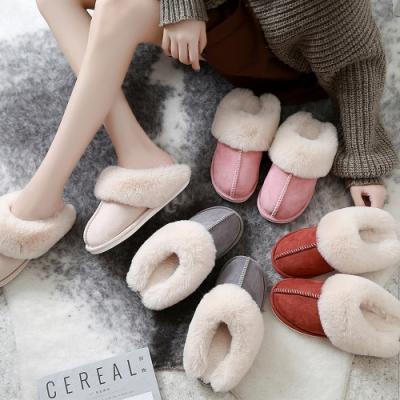 ego life麂皮絨兔毛口包頭保暖防滑男女室內拖鞋
