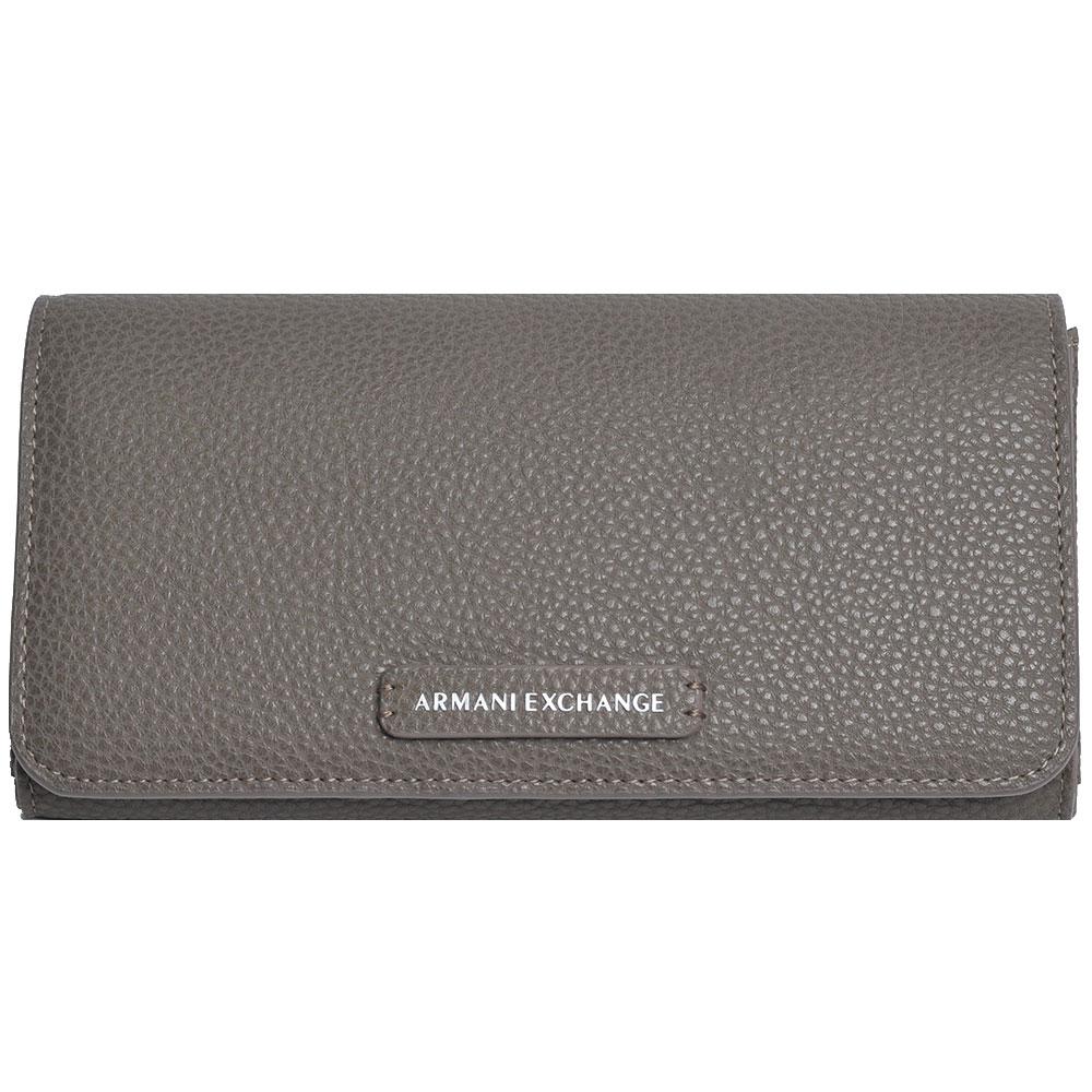 ARMANI EXCHANGE 經典荔枝壓紋品牌皮標LOGO機能長夾(灰色系)