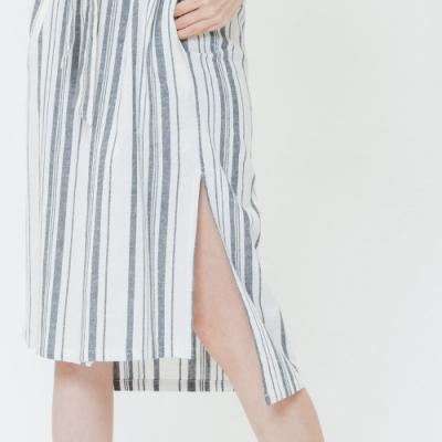 H:CONNECT 韓國品牌 女裝-棉麻條紋襯衫洋裝-藍