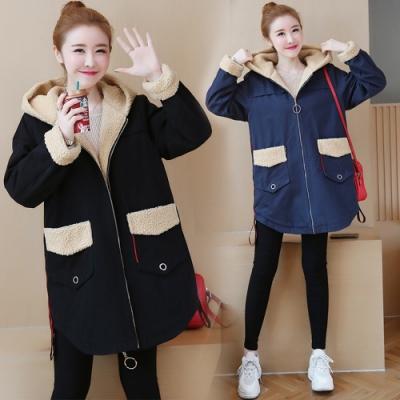 可愛俏麗保暖羔羊絨加厚連帽外套XL-5XL(共二色)KVOLL