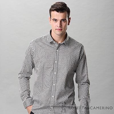 ROBERTA諾貝達 進口素材 台灣製 合身版 方格品味 純棉長袖襯衫 咖啡