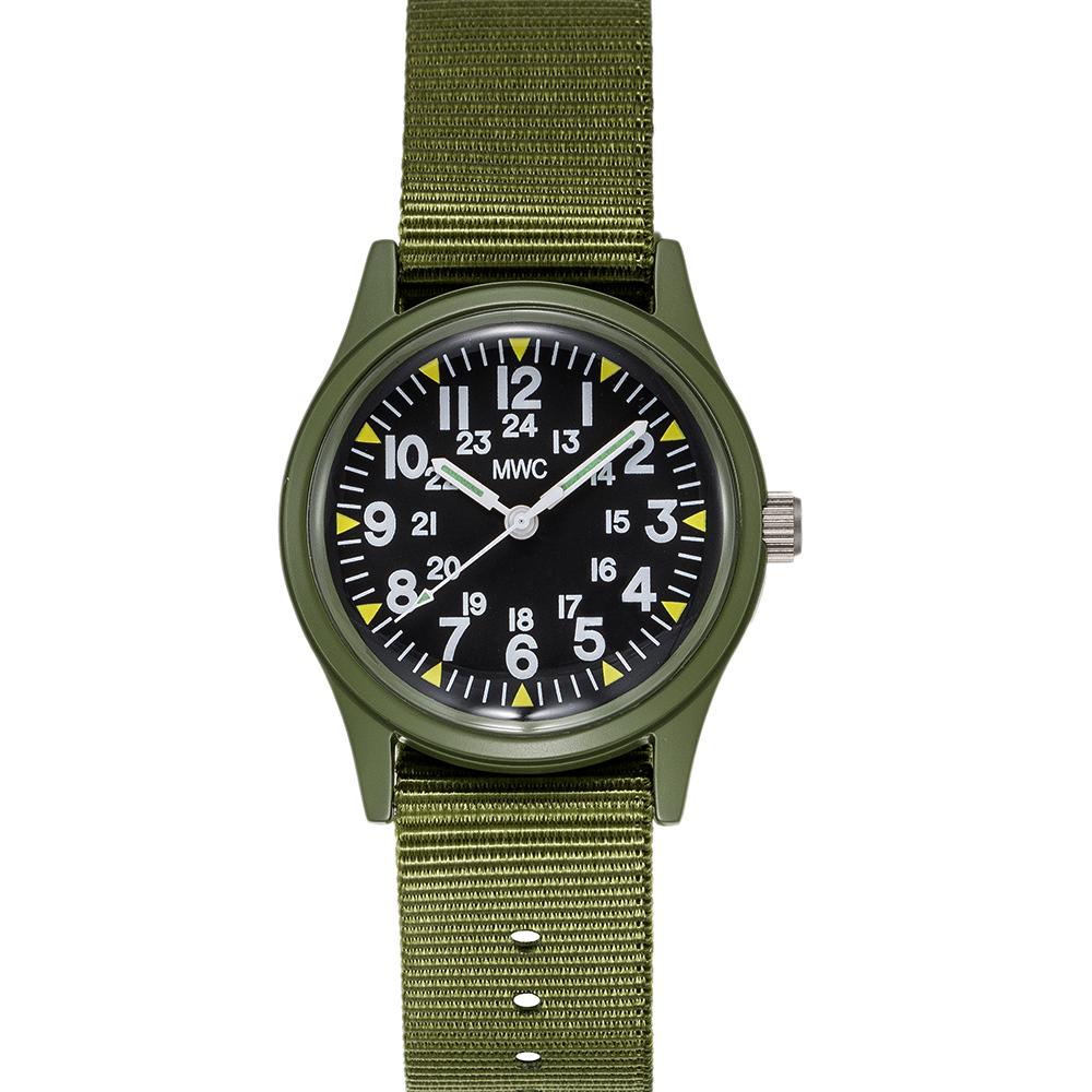 MWC瑞士軍錶 1960經典/70年代 美國軍事越南錶 軍綠款 -黑色/33mm