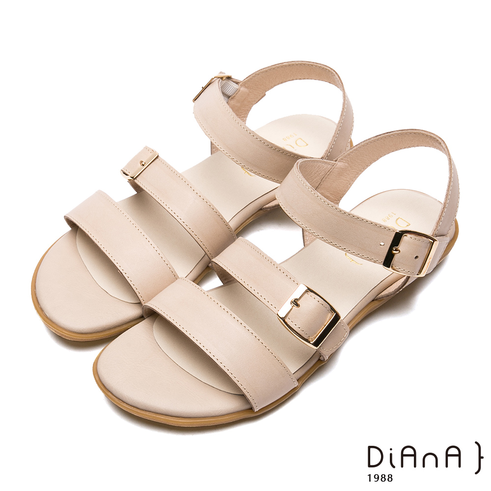 DIANA–三寬版繞帶方金屬釦牛皮涼鞋-樂活悠閒-米