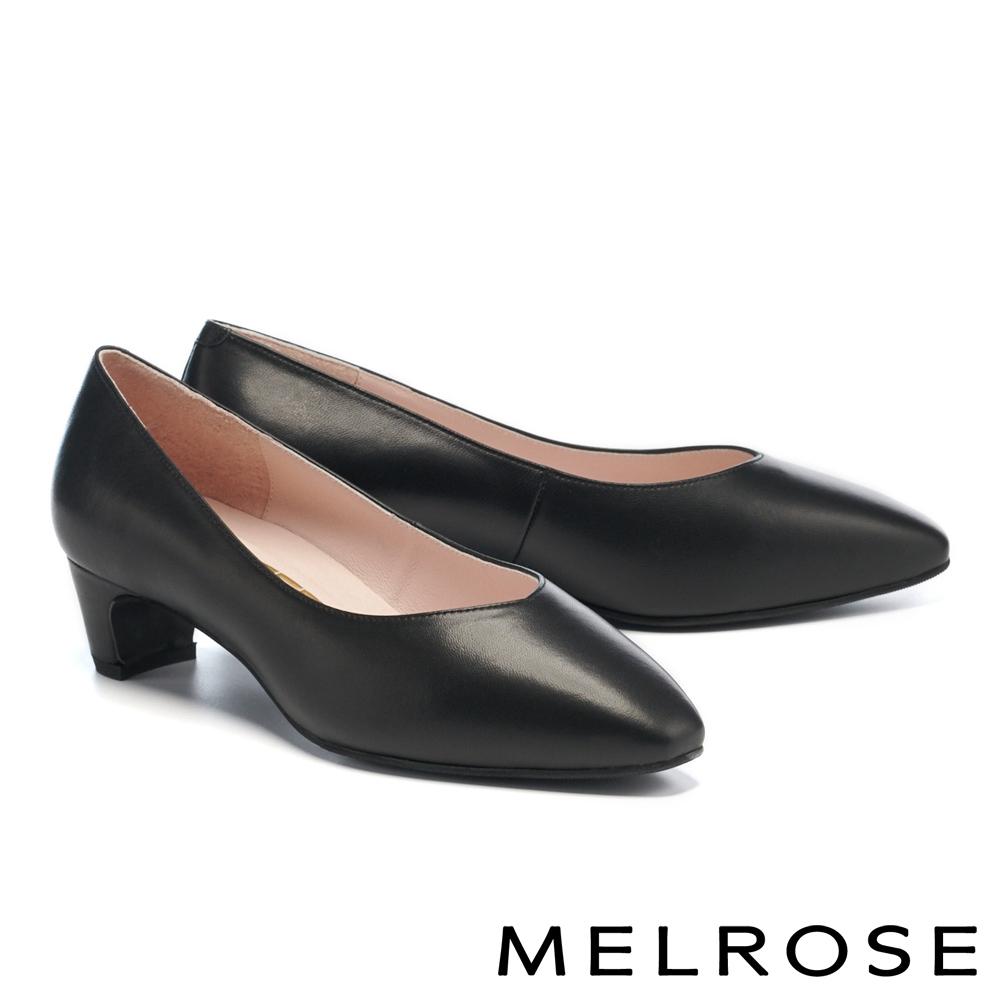 高跟鞋 MELROSE 極簡時尚百搭全真皮小方楦粗高跟鞋-黑
