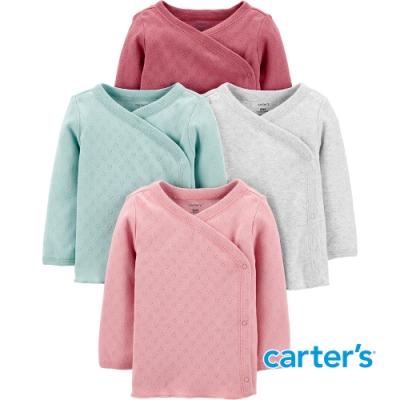 【Carter s】 愛心壓紋4件組長袖上衣(早產兒PRE-12M) (台灣總代理)