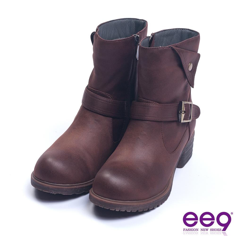 ee9 經典手工繫帶百搭素面粗跟短靴 咖色