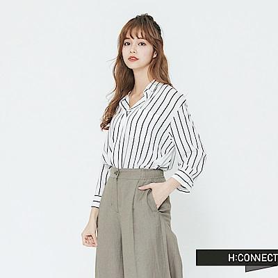 H:CONNECT 韓國品牌 女裝-半開襟直條紋襯衫-白