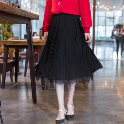 設計所在Lady-素色寬鬆蕾絲邊時尚裙子(二色M-XL可選)