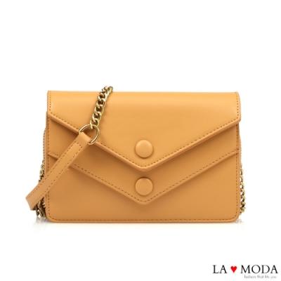 La Moda 網美超推薦信封造型多夾層大容量肩背斜背鏈帶小方包(黃)