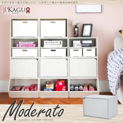 JP Kagu 日式品味DIY木質單格門櫃/收納櫃1入(木紋白)