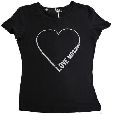LOVE MOSCHINO 銀彩愛心字母LOGO棉質短袖T恤(黑色/42號)
