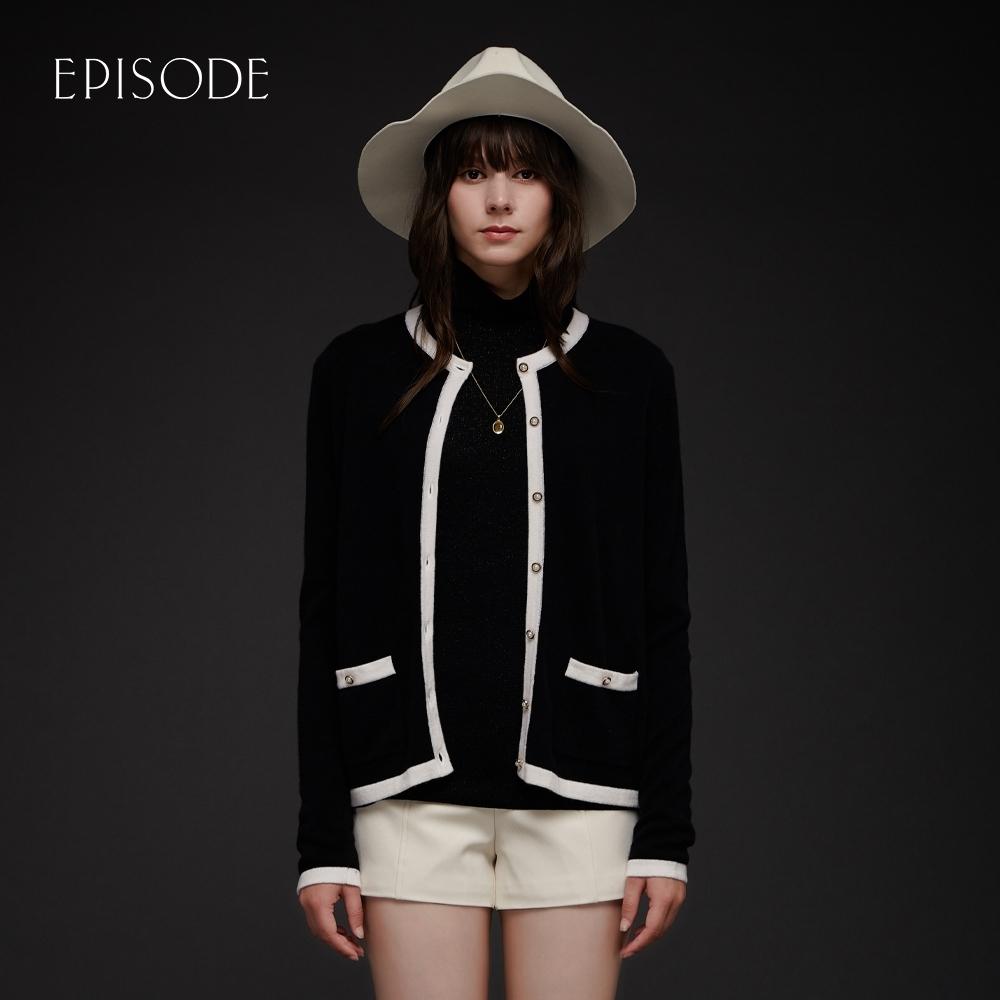 EPISODE - 黑色羊絨混紡精緻撞色鑲邊百搭針織開衫外套