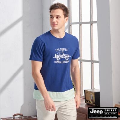 JEEP 吉普車色塊拼接圖騰短袖TEE-深藍