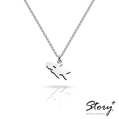 STORY故事銀飾-祈福項鍊 卡片銀飾鯊魚款