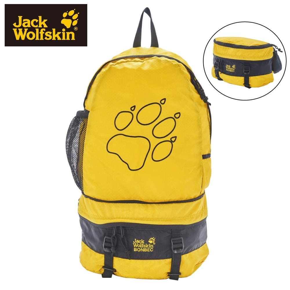 【Jack Wolfskin 飛狼】BONBEC 休閒後背包 (可收納成臀包)『黑色 / 黃色』