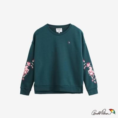 Arnold Palmer -女裝-袖子主題刺繡衛衣-藍綠(Yahoo獨家色)