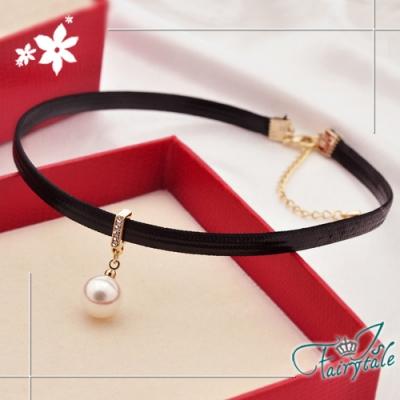 iSFairytale伊飾童話 單純珍珠 性感黑皮繩短頸鍊
