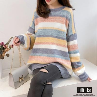 JILLI-KO 圓領彩虹條紋針織上衣- 粉/藍