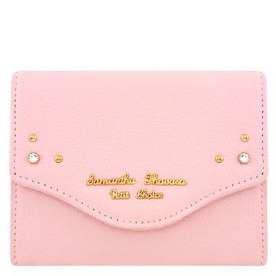 Samantha Thavasa 粉紅色鉚釘皮革證件名片短夾