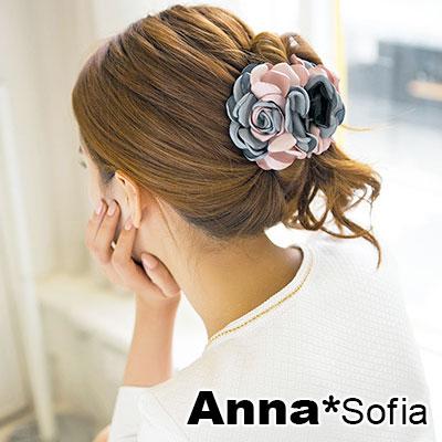 AnnaSofia 雙色綻瓣 純手工中型髮抓髮夾(藍灰粉系)