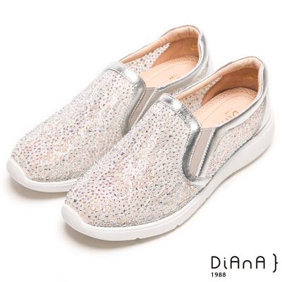 DIANA奢華水鑽微尖極修飾輕量休閒鞋-絕美魅力-銀