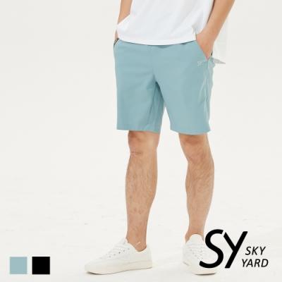 【SKY YARD 天空花園】簡約彈性五分短褲-藍色