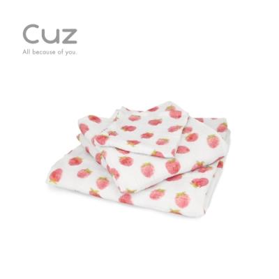 Cuz 草莓印章(紗布巾/方巾/嬰兒包巾)-90cm