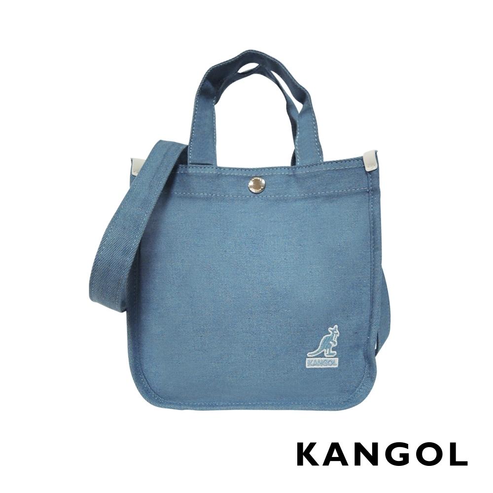 KANGOL 韓版極簡玩色-MINI牛仔斜背小方包-淺藍AKG1215