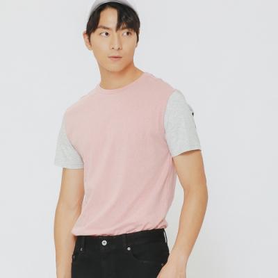 H:CONNECT 韓國品牌 男裝-後標語拼接上衣-粉(快)