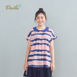 【Dailo】拼接條紋休閒短袖棉T(二色)