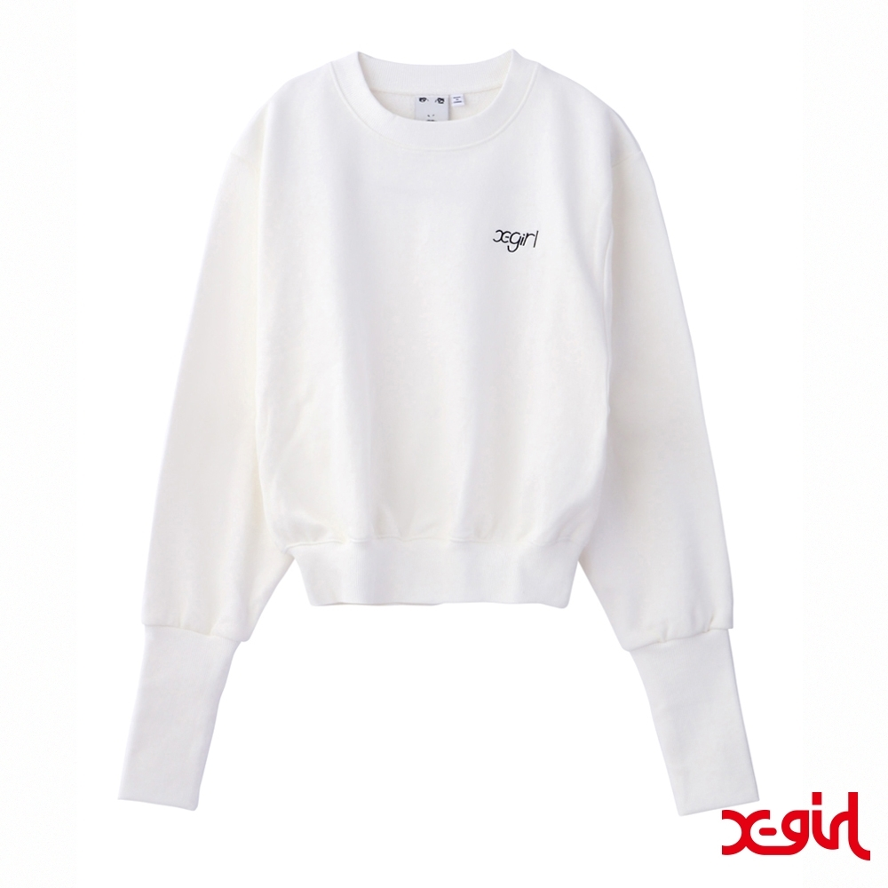 X-girl LONG RIBBED CREW SWEAT TOP短版大學T-白 product image 1