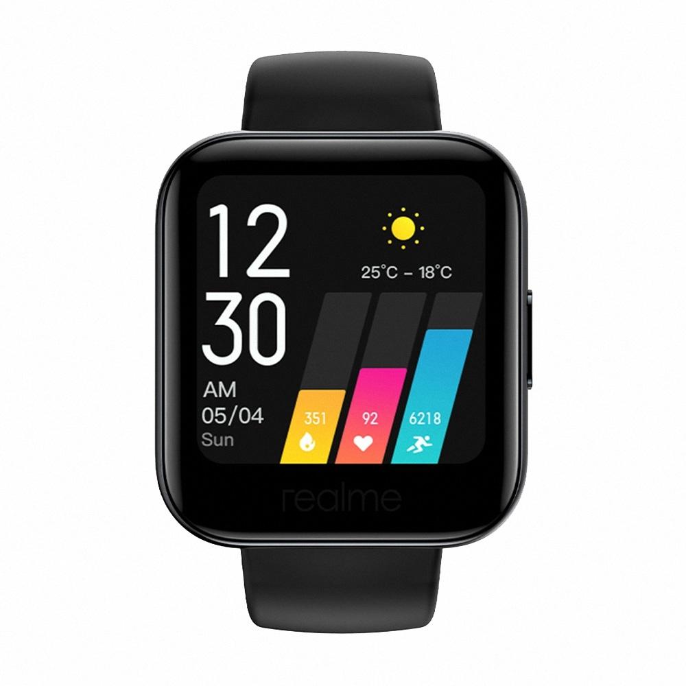 (送TypeC線)realme Watch 智慧手錶搭配黑色錶帶 (RMA161)