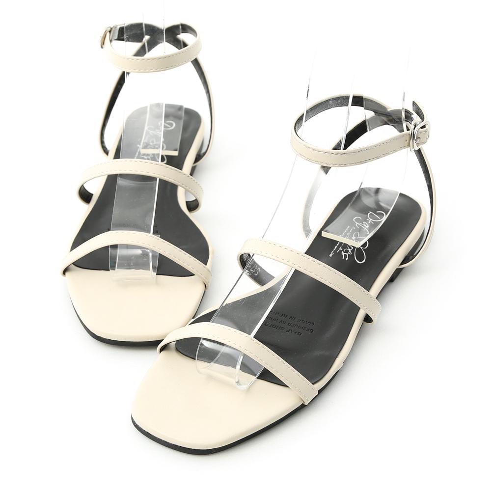 D+AF 時尚聚焦.雙帶繫踝方頭平底涼鞋*米