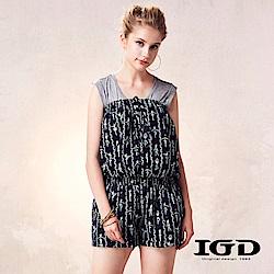 IGD英格麗 平口童趣芭蕾印花連身褲-深藍
