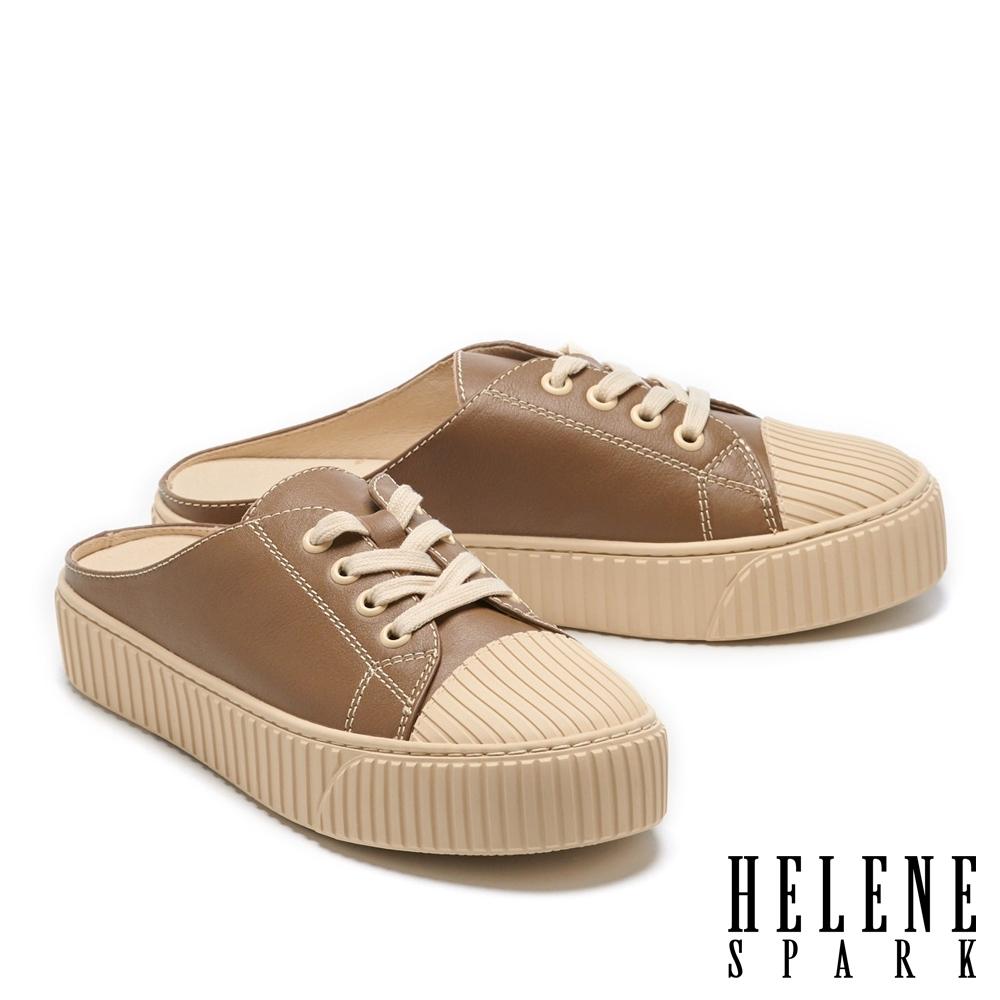 拖鞋 HELENE SPARK 復古感縫線牛皮厚底休閒拖鞋-咖