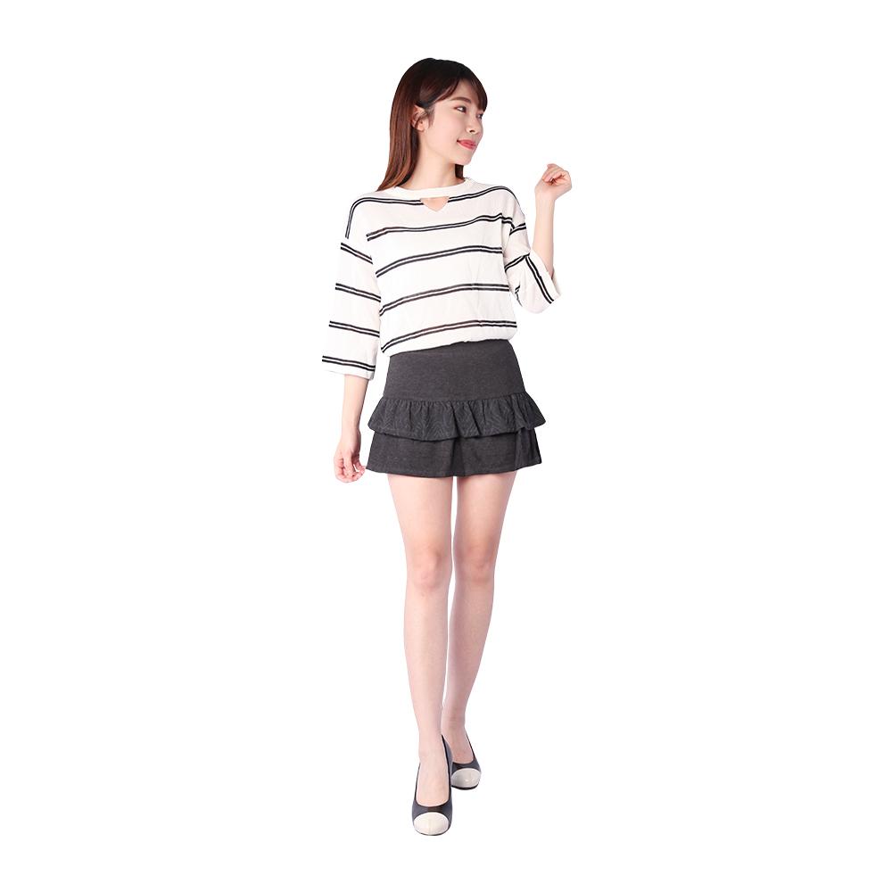 5B2F 五餅二魚 菱格紋裙襬短褲