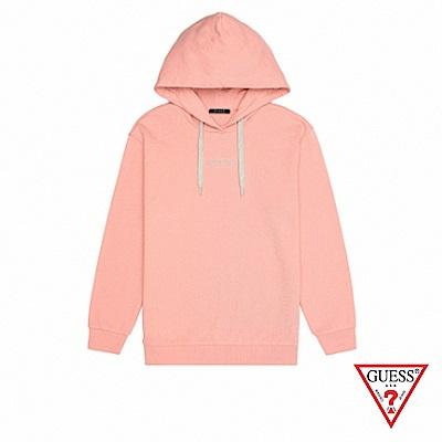 GUESS-女裝-刺繡字母LOGO長袖帽T-粉紅