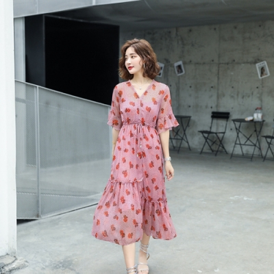 復古輕盈V領腰抽繩雪紡印花洋裝M-XL(共二色)-SZ