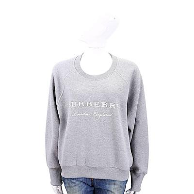 BURBERRY 字母刺繡灰色混棉平織運動衫