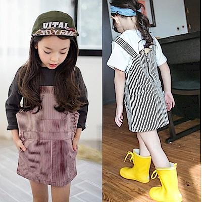 小衣衫童裝  百搭韓風雙面穿條紋吊帶裙1050302