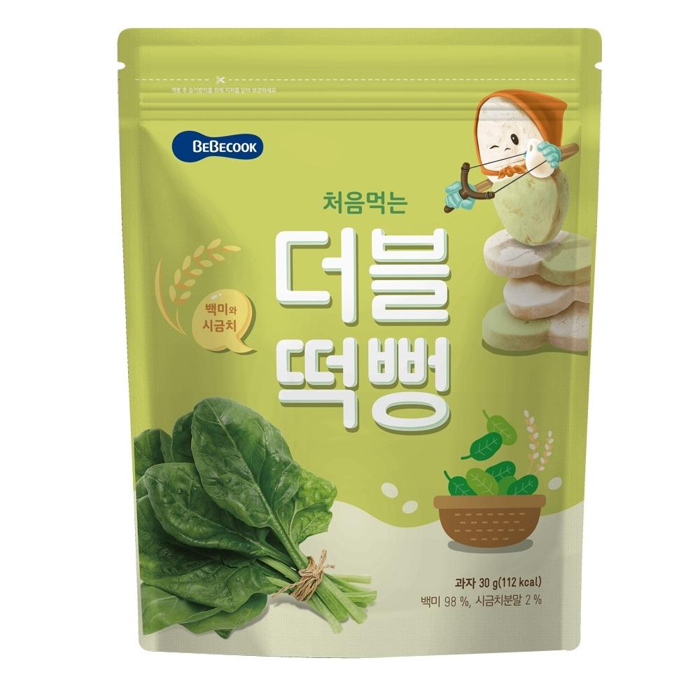 韓國 【BEBECOOK】 嬰幼兒雙色初食綿綿米餅(白米菠菜)