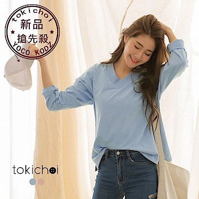 東京著衣 糖果女孩羅紋V領棉質長袖T恤-S.M.L(共二色)