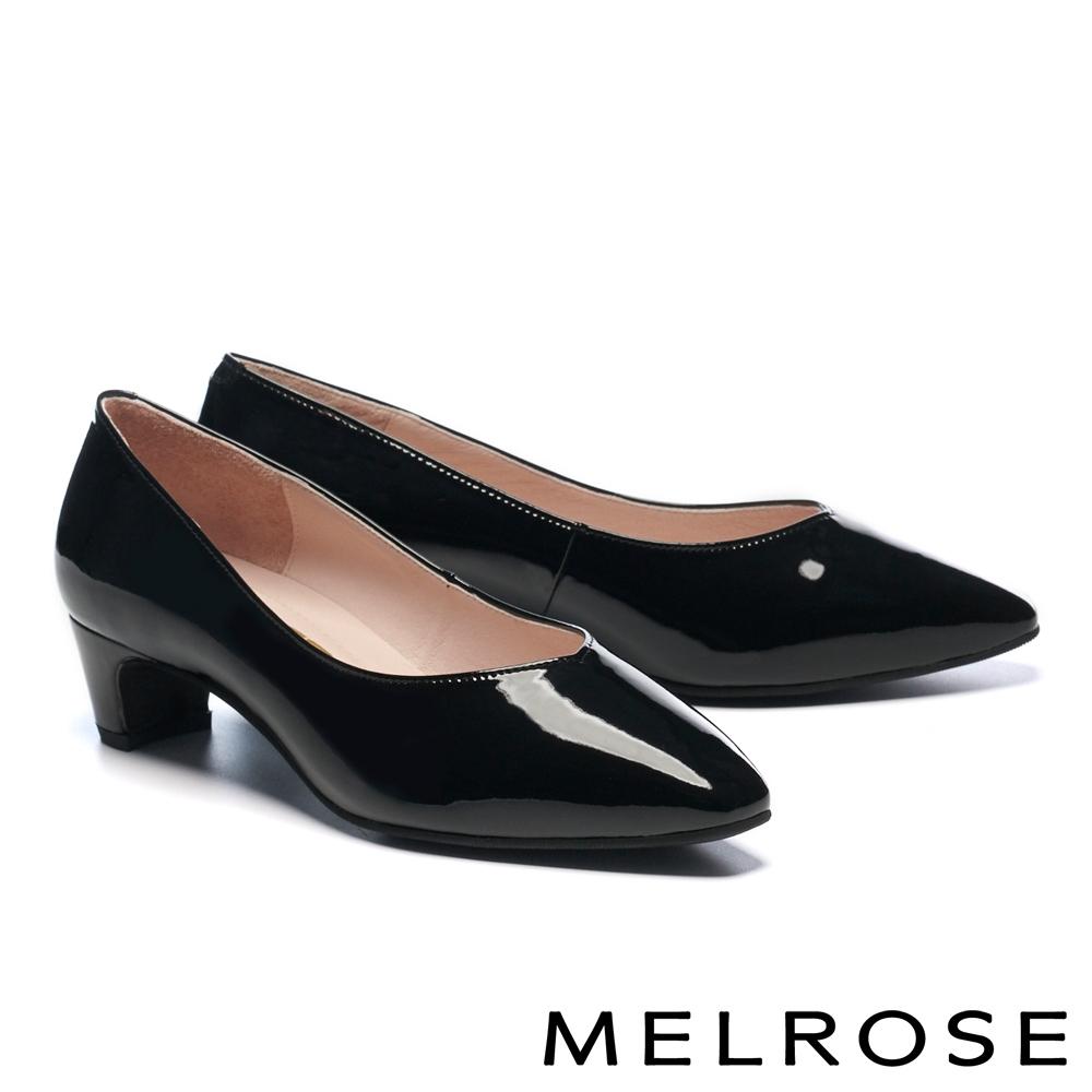 高跟鞋 MELROSE 極簡時尚百搭全真皮小方楦粗高跟鞋-亮黑