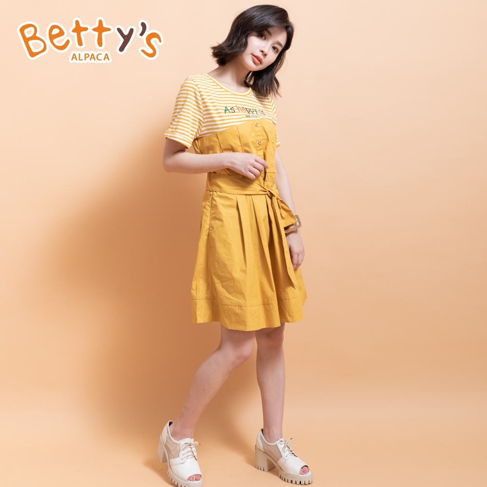 betty's貝蒂思 假兩件拼接條紋洋裝(深黃)