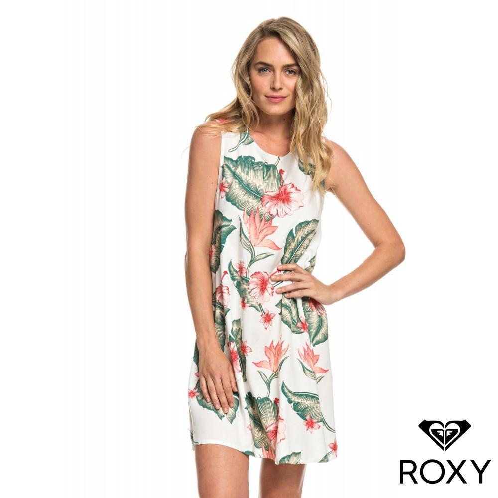 【ROXY】HARLEM VIBES 絲質印花洋裝 白